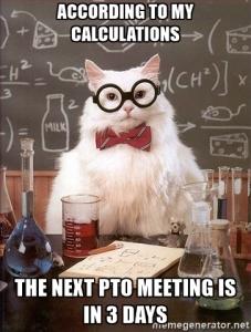pto meeting meme chemistry cat